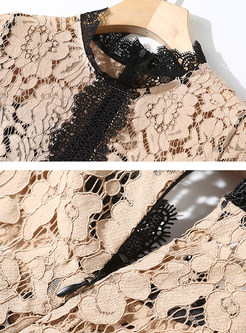 Lace Splicing Contrast Color Midi Dress