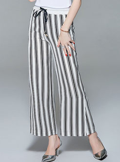 Black Tied All-match Striped Straight Pants