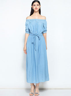 Blue Street Silk Slash Neck Waist Maxi Dress