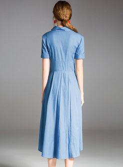 2473987cb4b06 ... Light Blue Silk Asymmetric Waist Shirt Dress ...