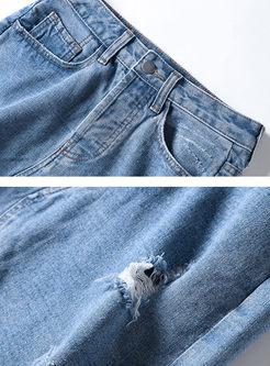 Fashion Asymmetric Hole Split Denim Skirt