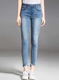 Casual Hole Asymmetric Selvedge All-match Slim Jeans