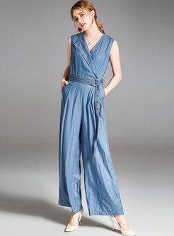 Casual Belted Cotton Notched Wide Leg Jumpsuit