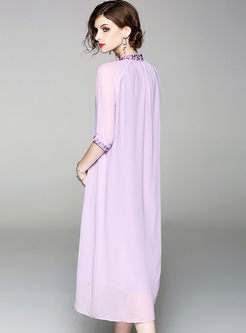 Fashion Purple Stand Collar Big Hem Shift Dress