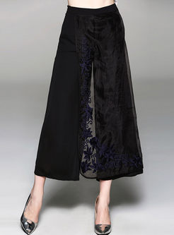 Black Casual Embroidery Wide Leg Pants