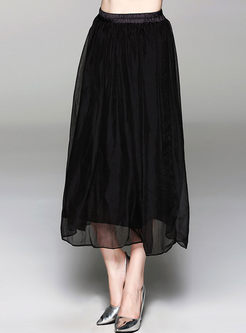 Solid Color Chiffon Elastic Waist Skirt
