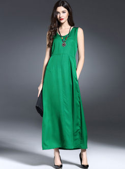 Green Silk Sleeveless Stitching Maxi Dress