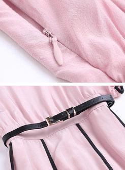 Elegant Slash Neck Big Hem A Line Dress With Belt