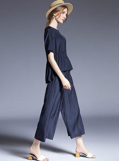 Navy Round Neck Waist Top & Elastic Waist Wide Leg Pants