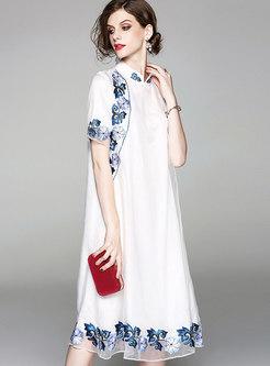 White Vintage Loose Embroidery Midi Dress