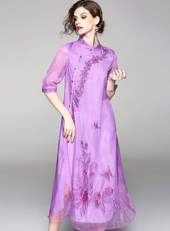 Purple Ethnic Stand Collar Embroidery Dress