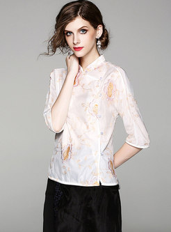 White Stand Collar Embroidery Blouse