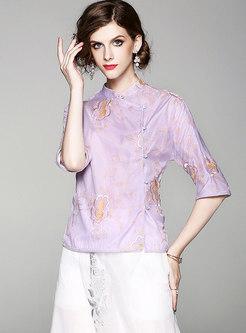 Purple Ethnic Fashion Embroidery Blouse