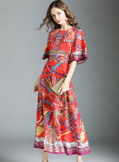 Red Waist Big Hem Maxi Dress