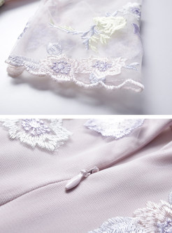 Pink Embroidery Splicing A Line Dress