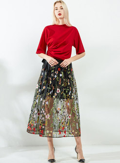 Gauze See Through Embroidery A Line Skirt