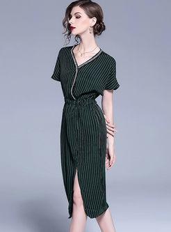 Dark Green V-neck Split Stitching A Line Dress