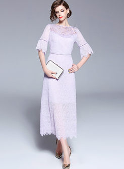 Elegant Lace Flare Sleeve Hollow Out Maxi Dress