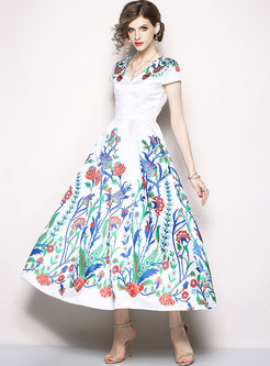Chic Floral Print V-neck Maxi Dress