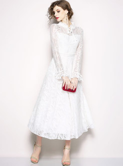 White Stringy Selvedge Lace Prom Dress