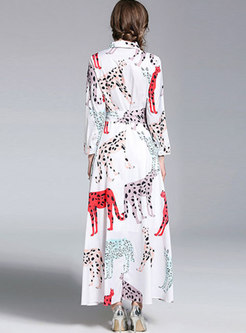 White Animals Print Lapel Belted Maxi Dress
