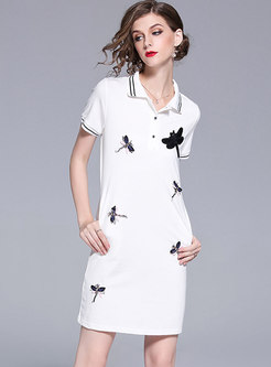 White Lapel Nail Drill T-shirt Dress