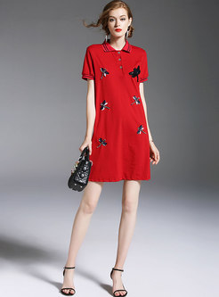 Red Dragonfly Embroidery T-shirt Dress