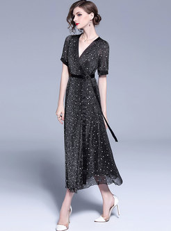 Black Star Pattern V-neck Maxi Dress