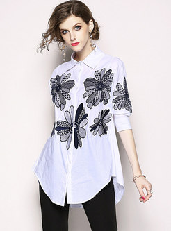 White Loose Embroidery Lapel Blouse