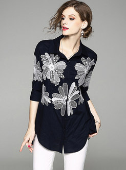 Black Embroidery Asymmetric Casual Blouse