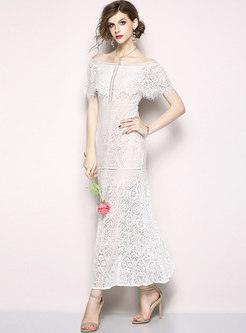 White Sexy Falbala Slash Neck Maxi Dress