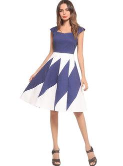 Brief Contrast Color Slim A Line Dress