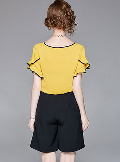 49d3eff8f4 ... Yellow Falbala Chiffon Top   Black Wide Leg Shorts ...