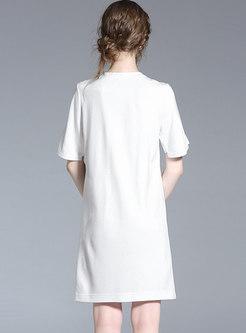 White Casual Cartoon Letter Print T-shirt Dress
