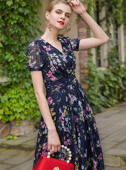 Blue Flower Print V-neck Waist Maxi Dress