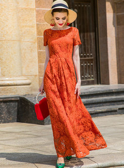 Retro Waist Big Hem Lace Maxi Dress