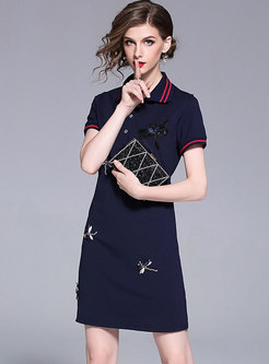 Nail Bead Lapel Embroidered T-shirt Dress