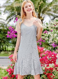 Khaki Casual T-shirt & Light Blue Lace Slip Dress