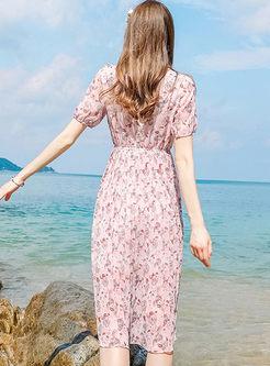 Sweet Floral Print Waist Chiffon Skater Dress