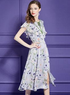 Chiffon Print Split Tied High Waist A Line Dress