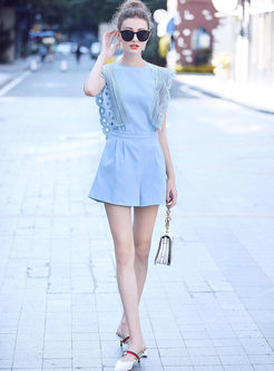 Street Hollow Out Stitching Round Neck Rompers