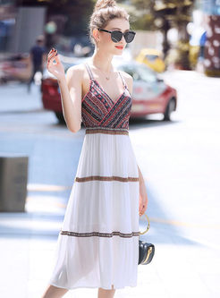Trendy Stitching Print V-neck Sun Dress