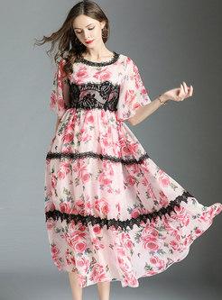 Lace Splicing Floral Print Maxi Dress