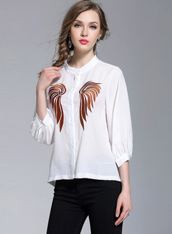 White Embroidery Stand Collar Blouse