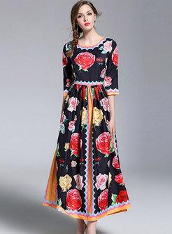 Retro Floral Print Big Hem Maxi Dress