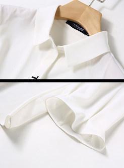 White Lapel Single-breasted Ruffle Sleeve Blouse