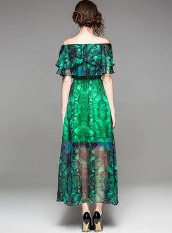 Green Bohemian Floral Print Beach Dress