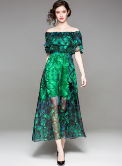 Green Bohemian Floral Print Beach Dress