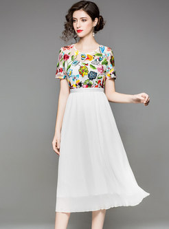White Embroidery Short Sleeve Midi Dress