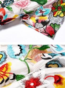 White Embroidery Short Sleeve Midi Dress